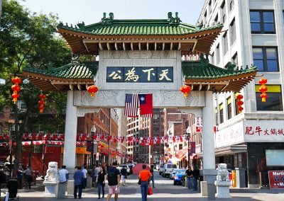 Chinatown Arch with foo lions left and right in Boston, MA