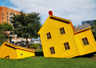 Art installation of yellow houses in Greenway Park, Boston, MA