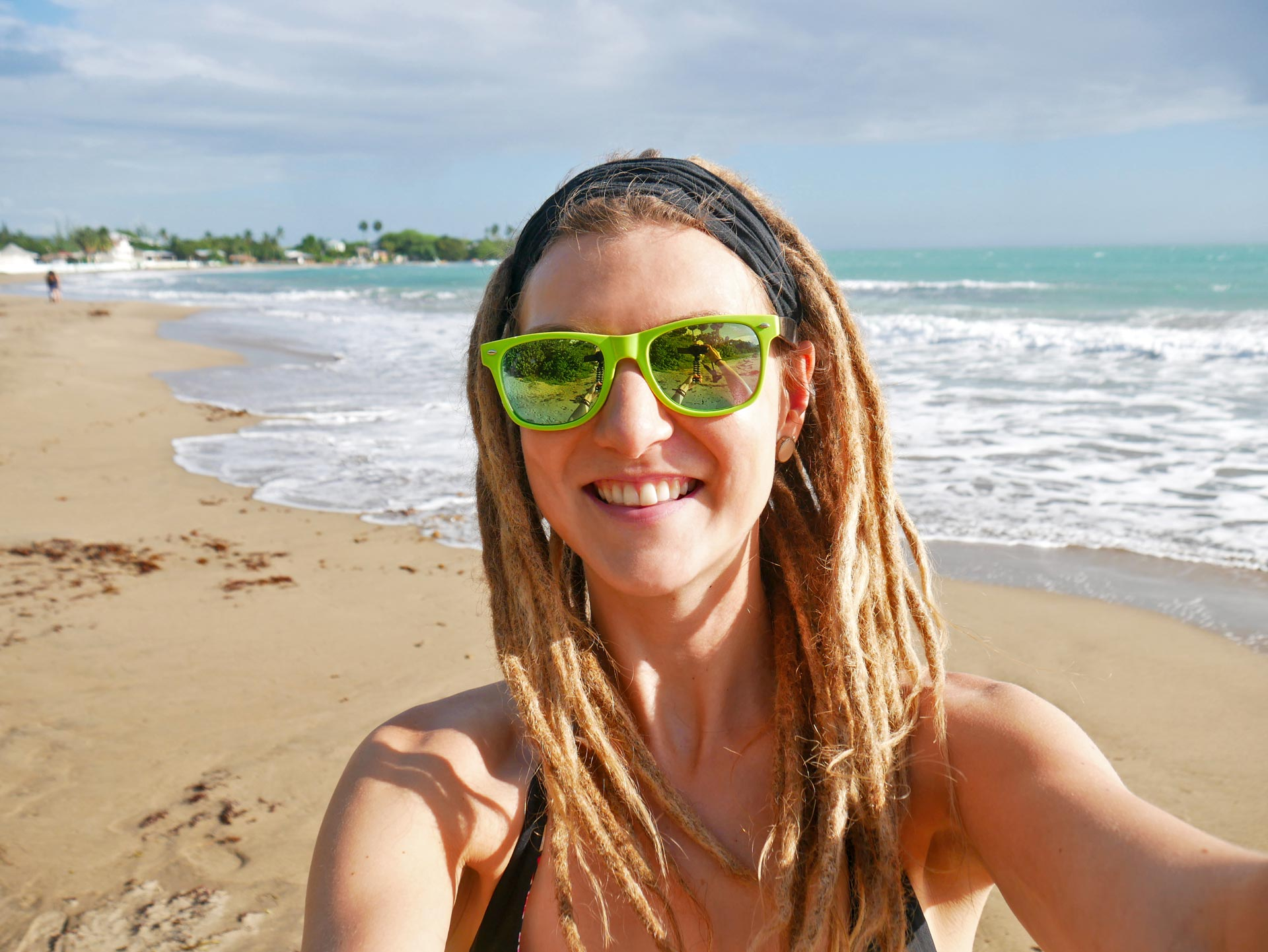Blonde rasta girl at Treasure Beach, Jamaica