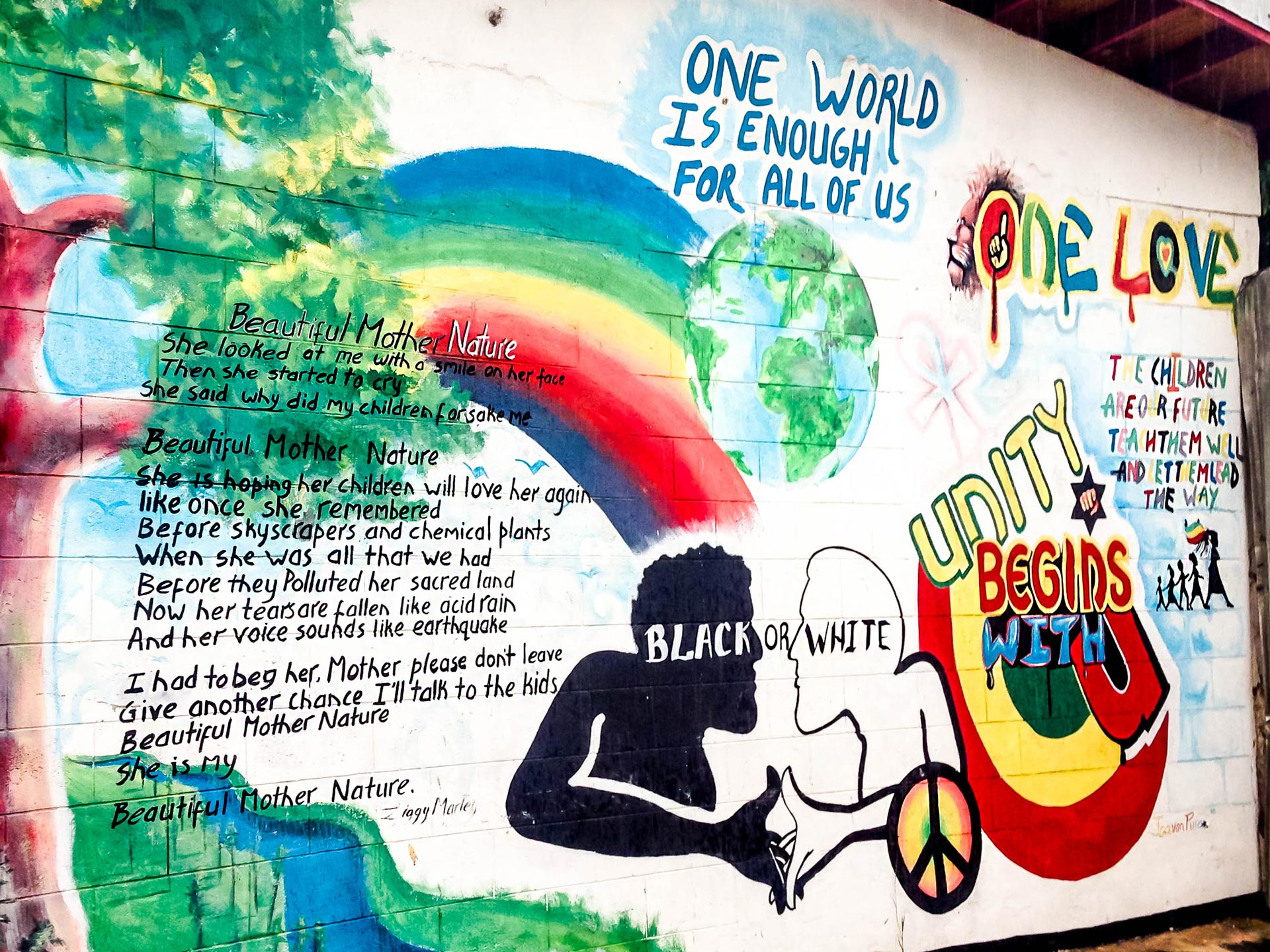 One Love mural at Tuff Gong International, Kingston