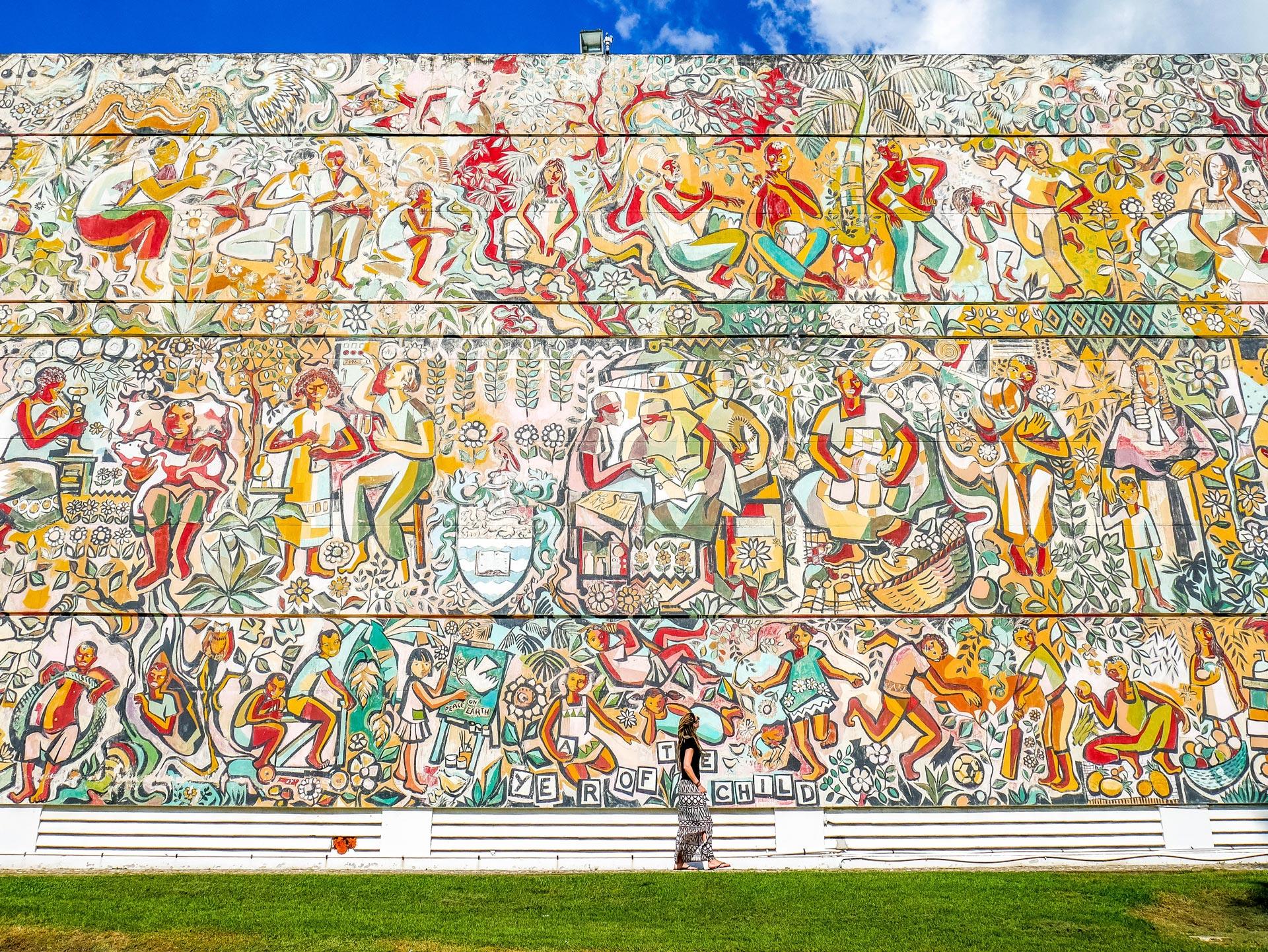 Big mural at UWI in Kingston, Jamaica