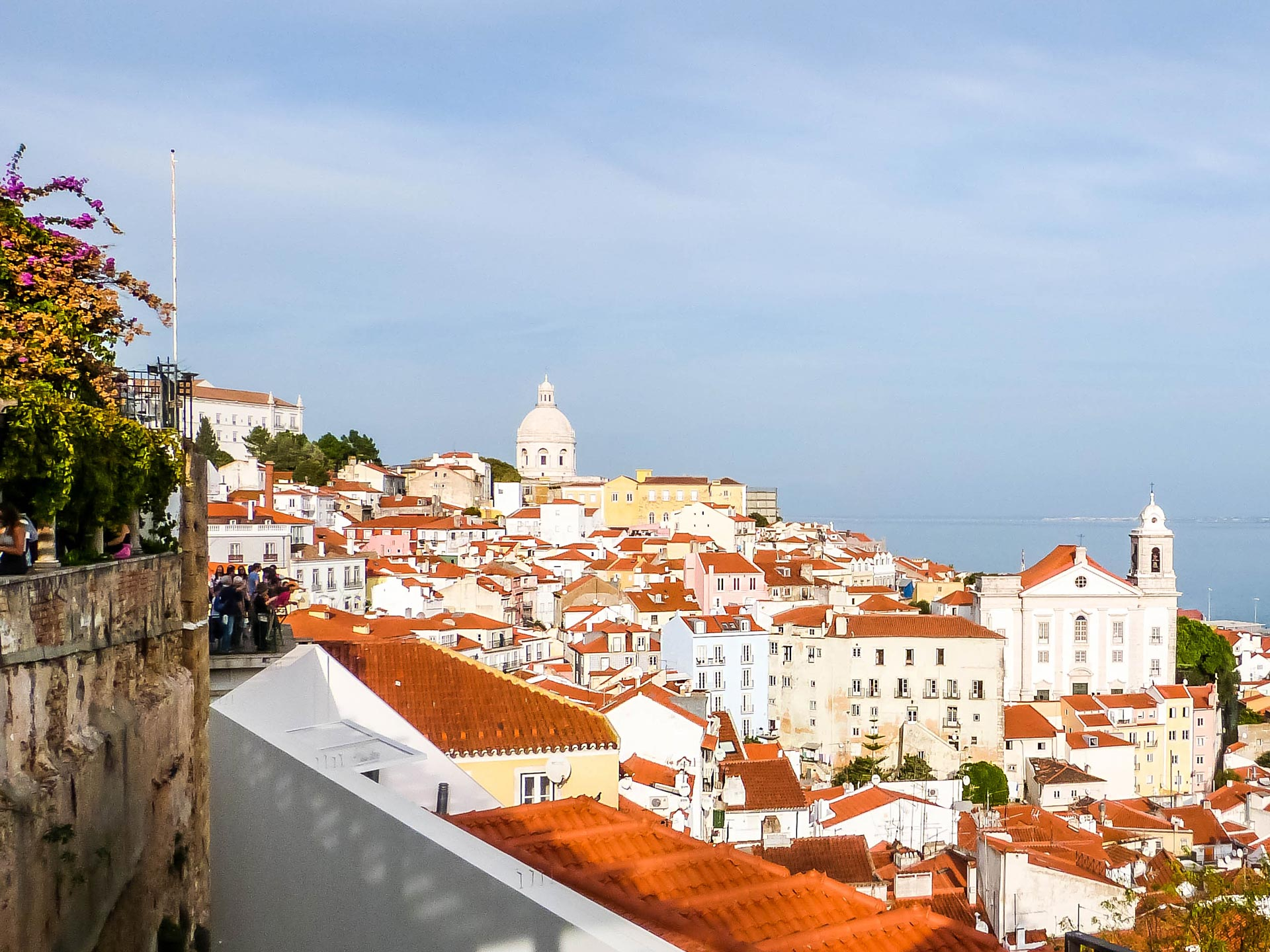 View of Alfama and Tagus river in Lisbon, Portugal