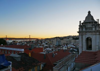 Sunset view from rooftop terrace of Park Bar in Lisbon