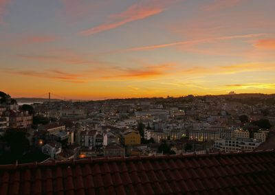 Sunset sky from Sophia de Mello Breyner Andresen viewpoint in Lisbon, Portugal