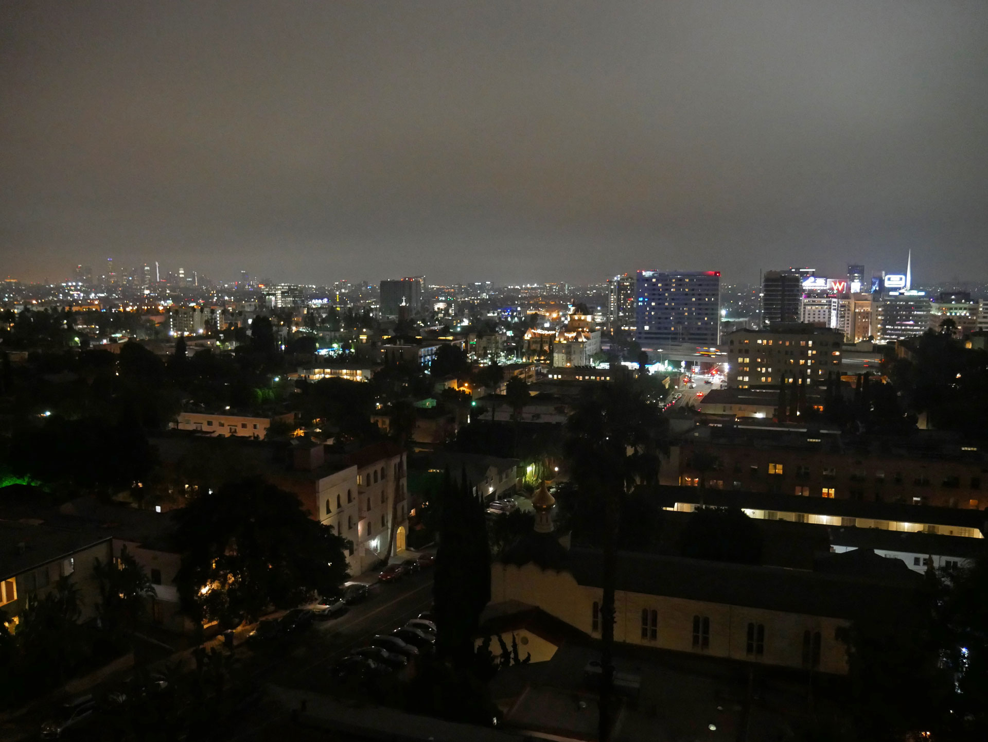 Hollywood Skyline at night in Los Angeles, CA