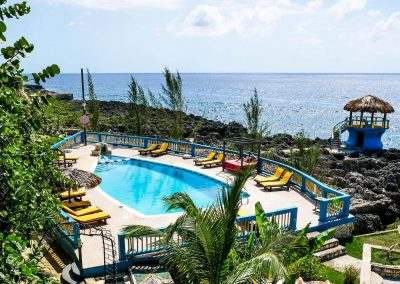 Hotel pool on cliffs with ocean view in West End, Jamaica