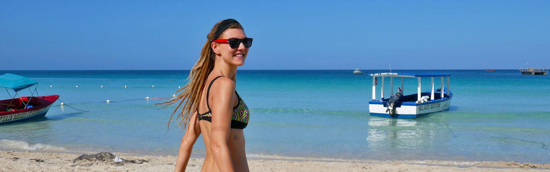 Rasta girl at Seven Mile Beach, Negril, Jamaica
