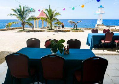 Oceanfront restaurant on cliffs at hotel in West End, Jamaica