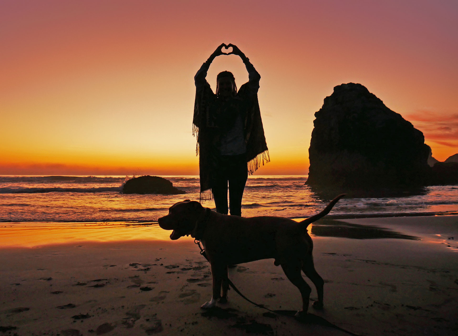 Rasta girl and dog during sunset at Moonstone Beach in Norcal