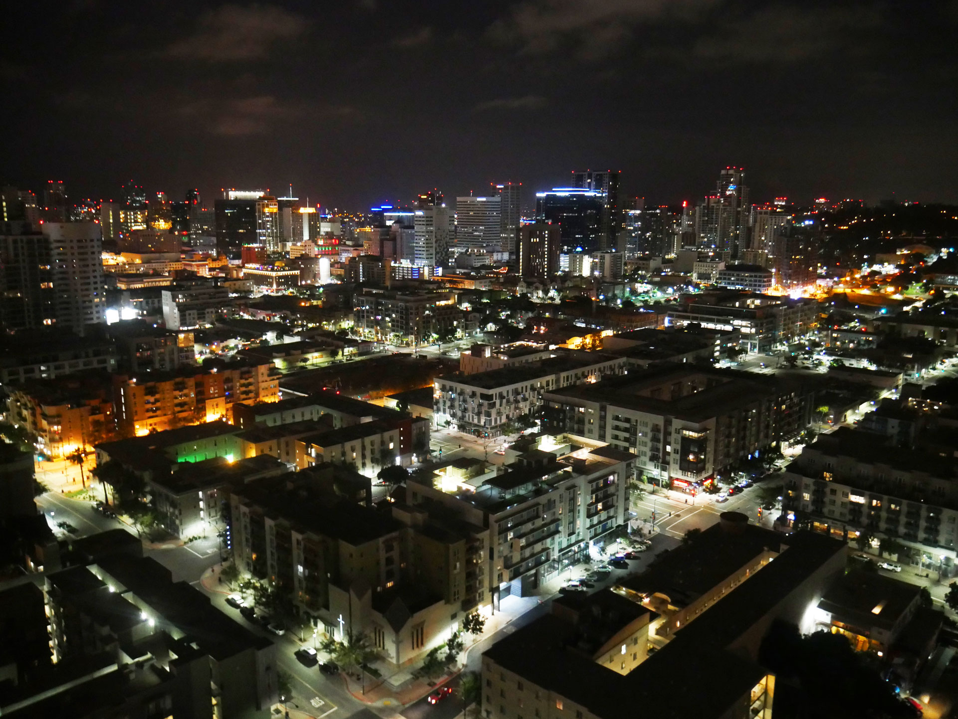 Skyline of downtown San Diego, CA, at night