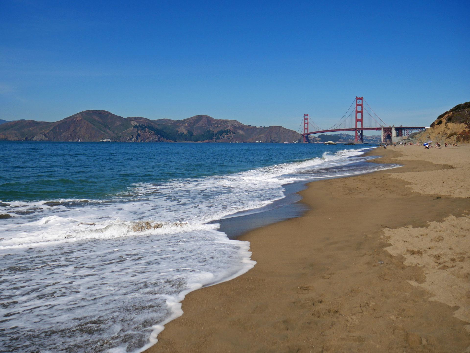 Baker Beach with Golden Gate Bridge in background in San Fran, CA