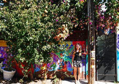Traveler girl underneath flowers in Balmy Alley in San Francisco, CA