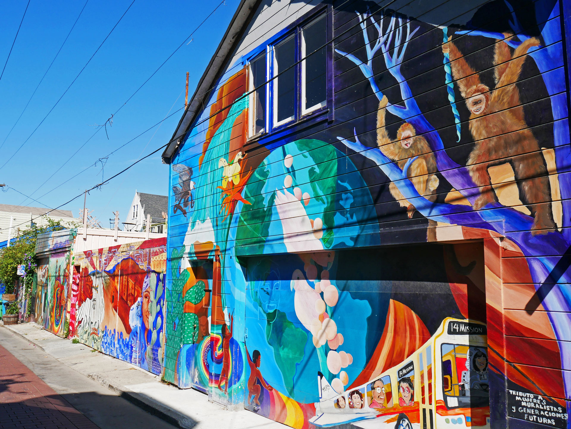 Colorful murals at Balmy Alley in San Francisco, CA