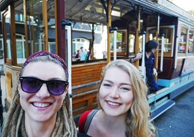 Sisters in front of Cable Car at Mason Street Terminal in San Fran, CA