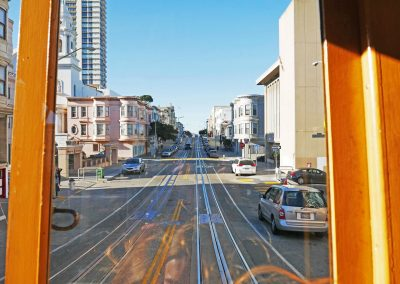 Street view from Cable Car in San Francisco, CA