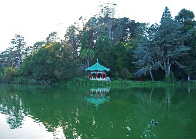 Stow Lake with Chinese Pavilion in Golden Gate Park, SF, CA