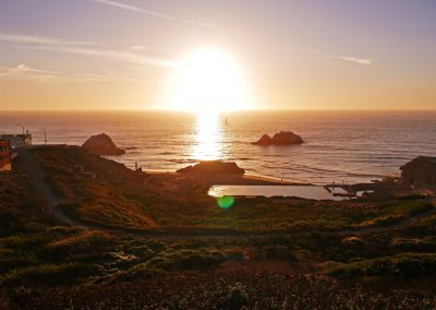 Sun illuminating Sutro Baths right before sunset in San Fran, CA