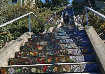 Mosaic showing flower pictures at 16th Avenue Tiled Steps in San Fran, CA