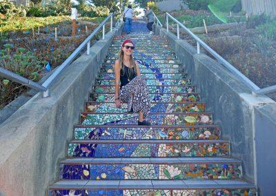 Rasta girl on 16th Avenue Tiled Steps in San Francisco, CA