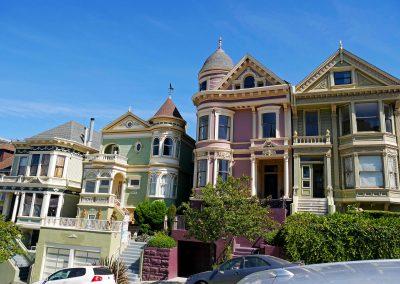Colorful Victorian houses near Alamo Square in San Fran, CA