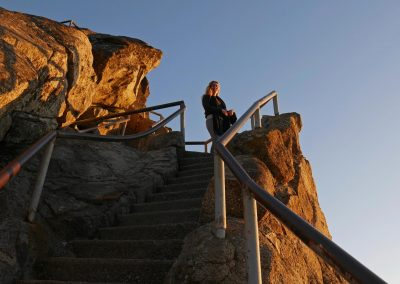 Climbing up the steps of Moro Rock in Sequoia National Park