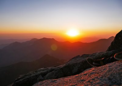 Sunset over mountains at Moro Rock in Sequoia National Park
