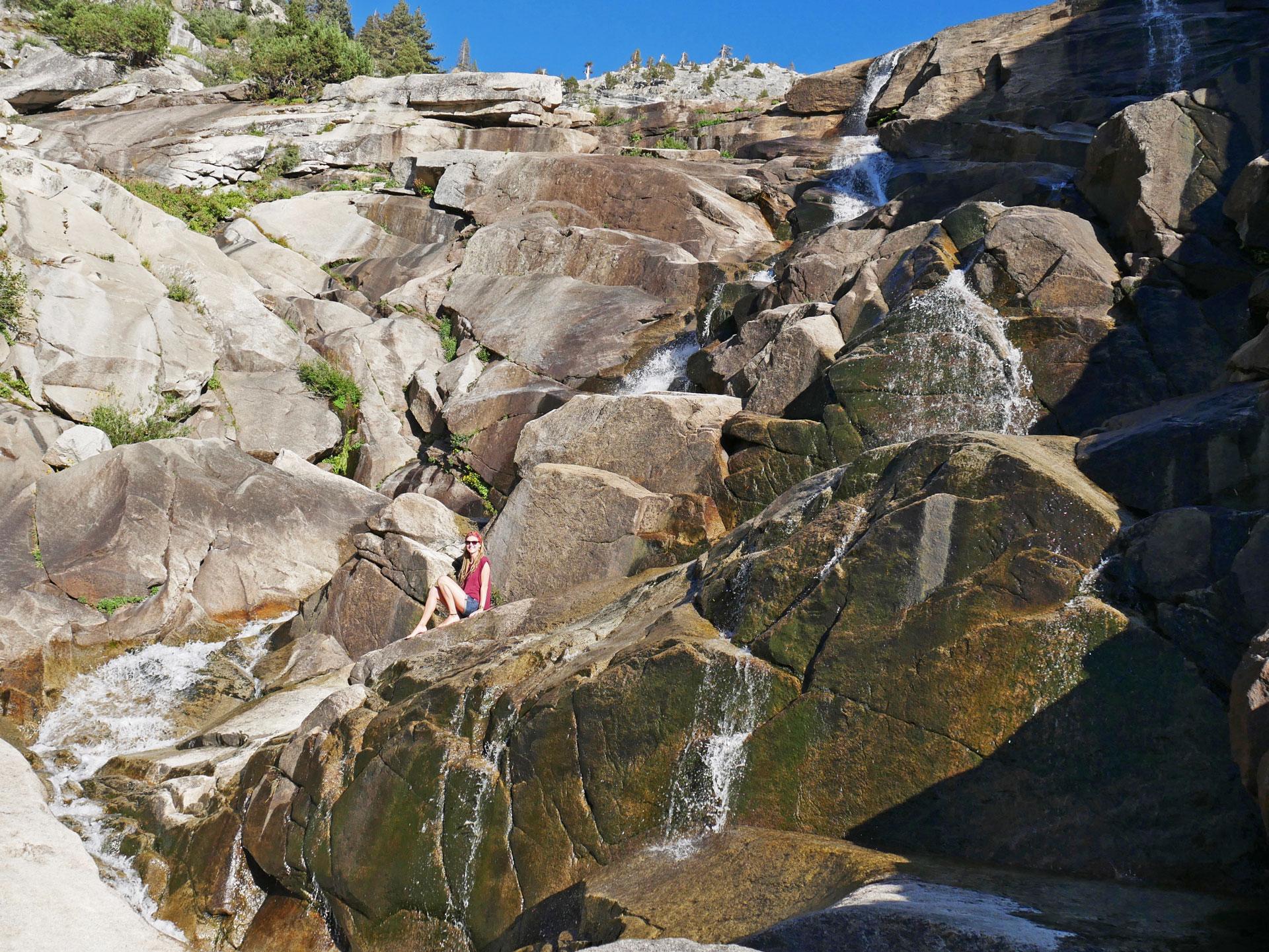 Climbing up Tokopah Falls in Sequoia National Park