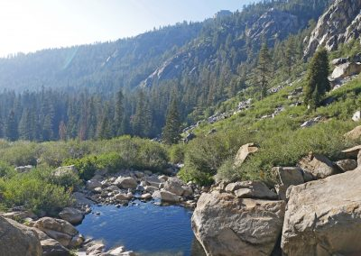 View of mountains, forest and lake from Tokopah Falls in Sequoia National Park