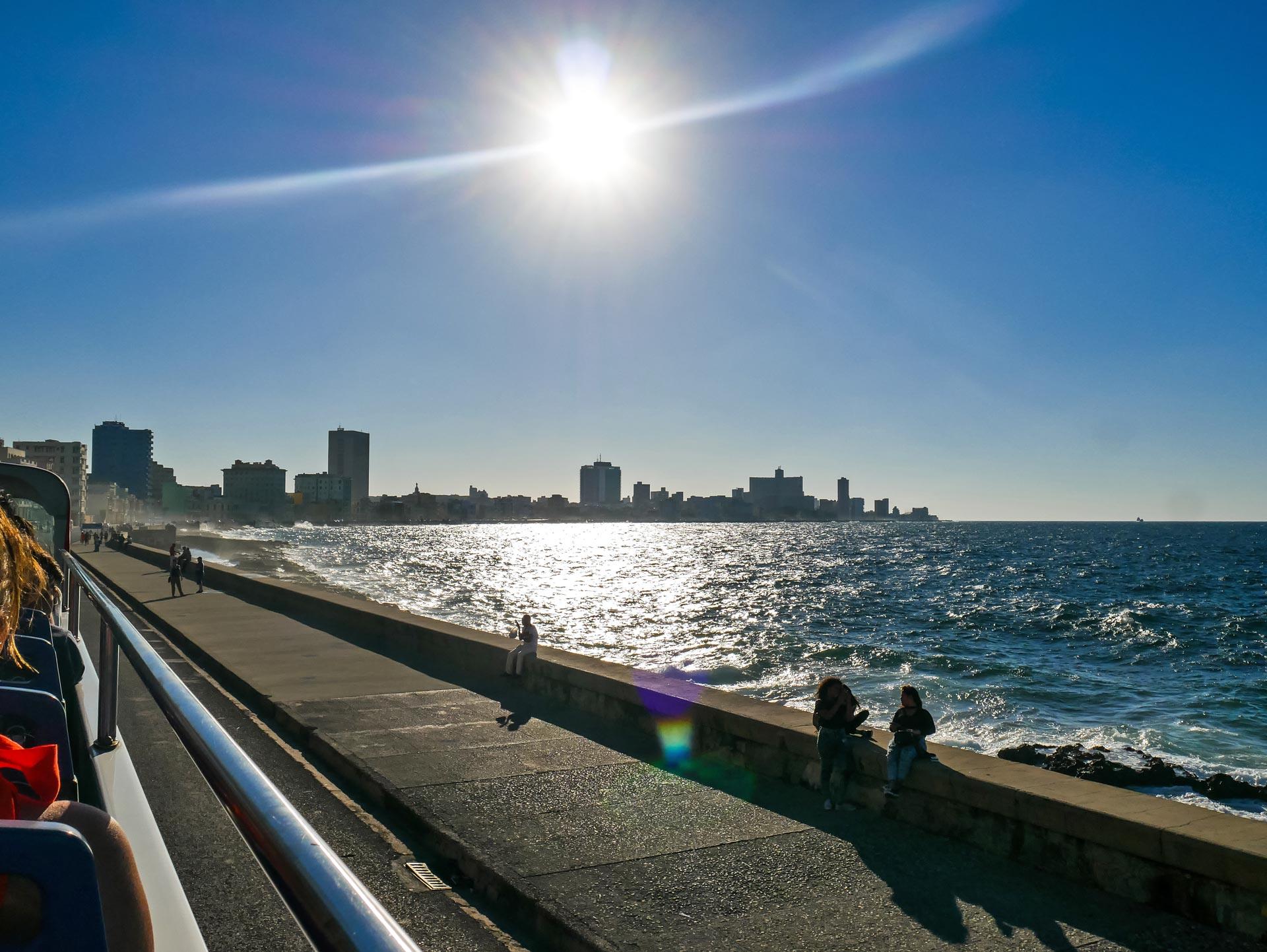 Havana skyline and coastline from bus tour on Malecón road, Cuba