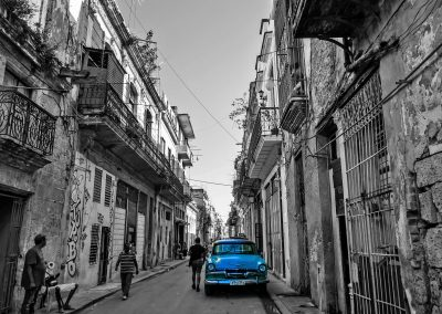 Blue classic car in street in Havana, Cuba
