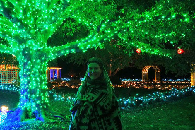 Rasta girl in front of illuminated tree at Gardenfest of Lights in Richmond, VA