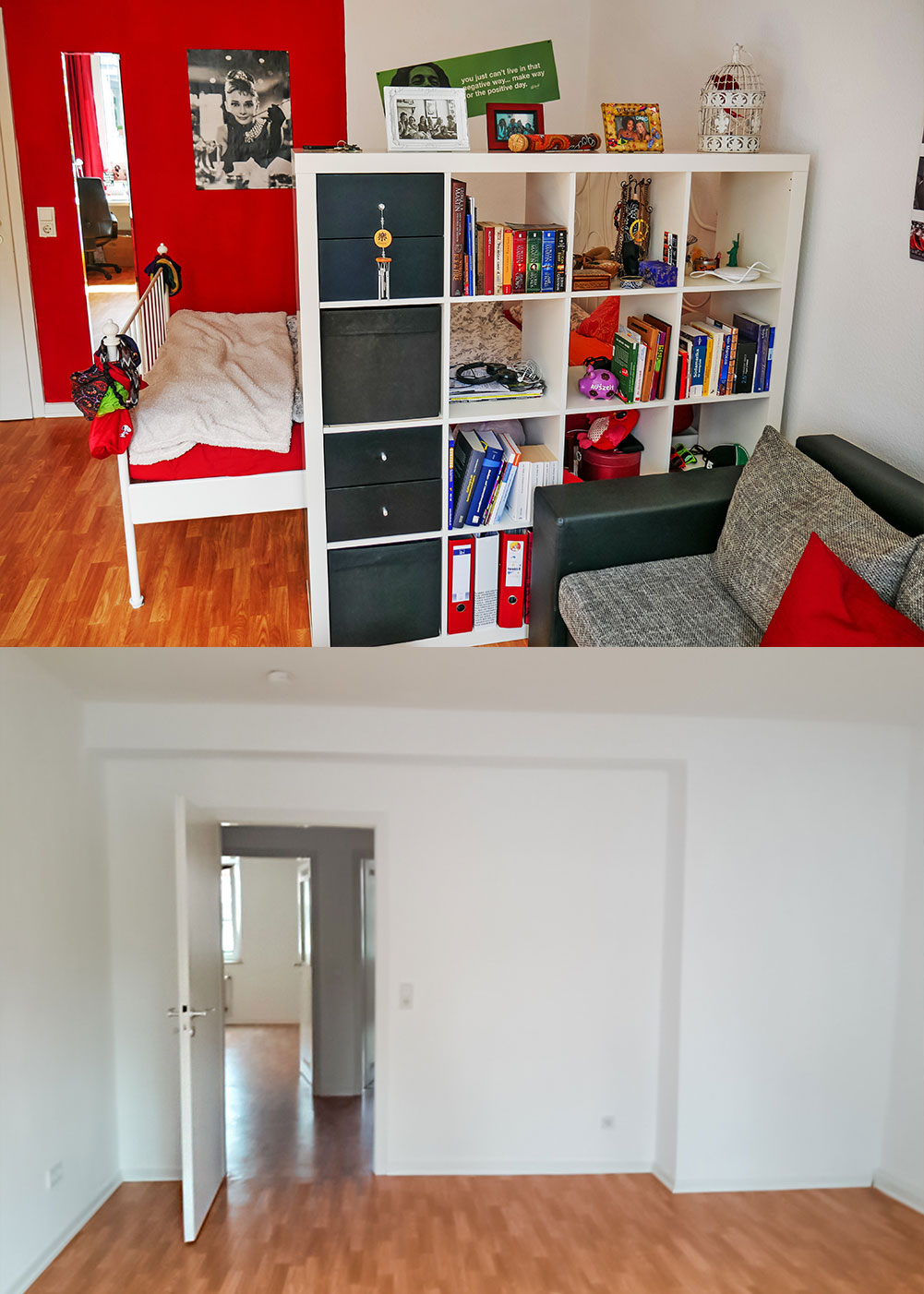 Room in Cologne, Germany, full with furniture and empty before moving out