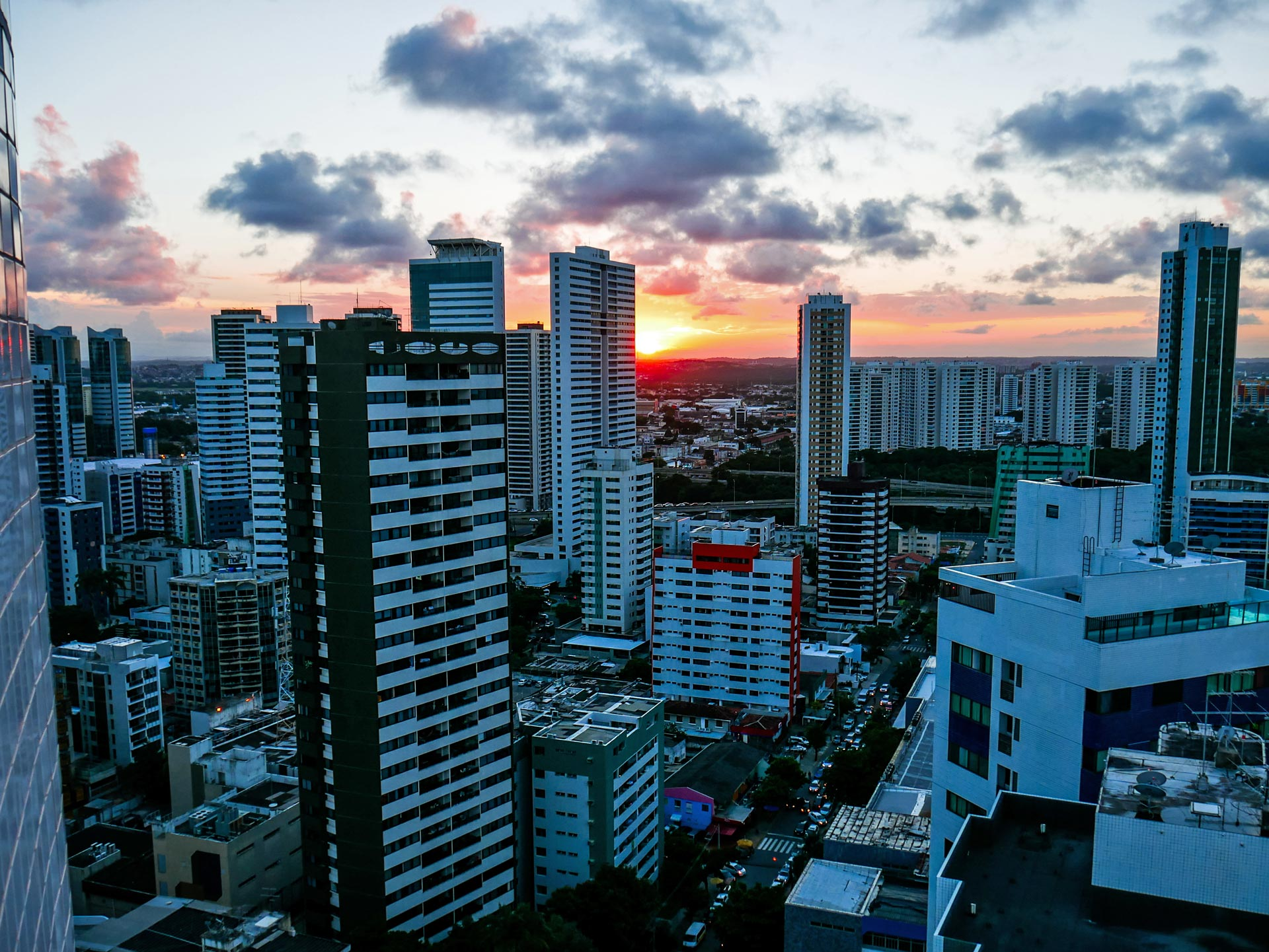 Sunset from rooftop terrace over Recife, Brazil