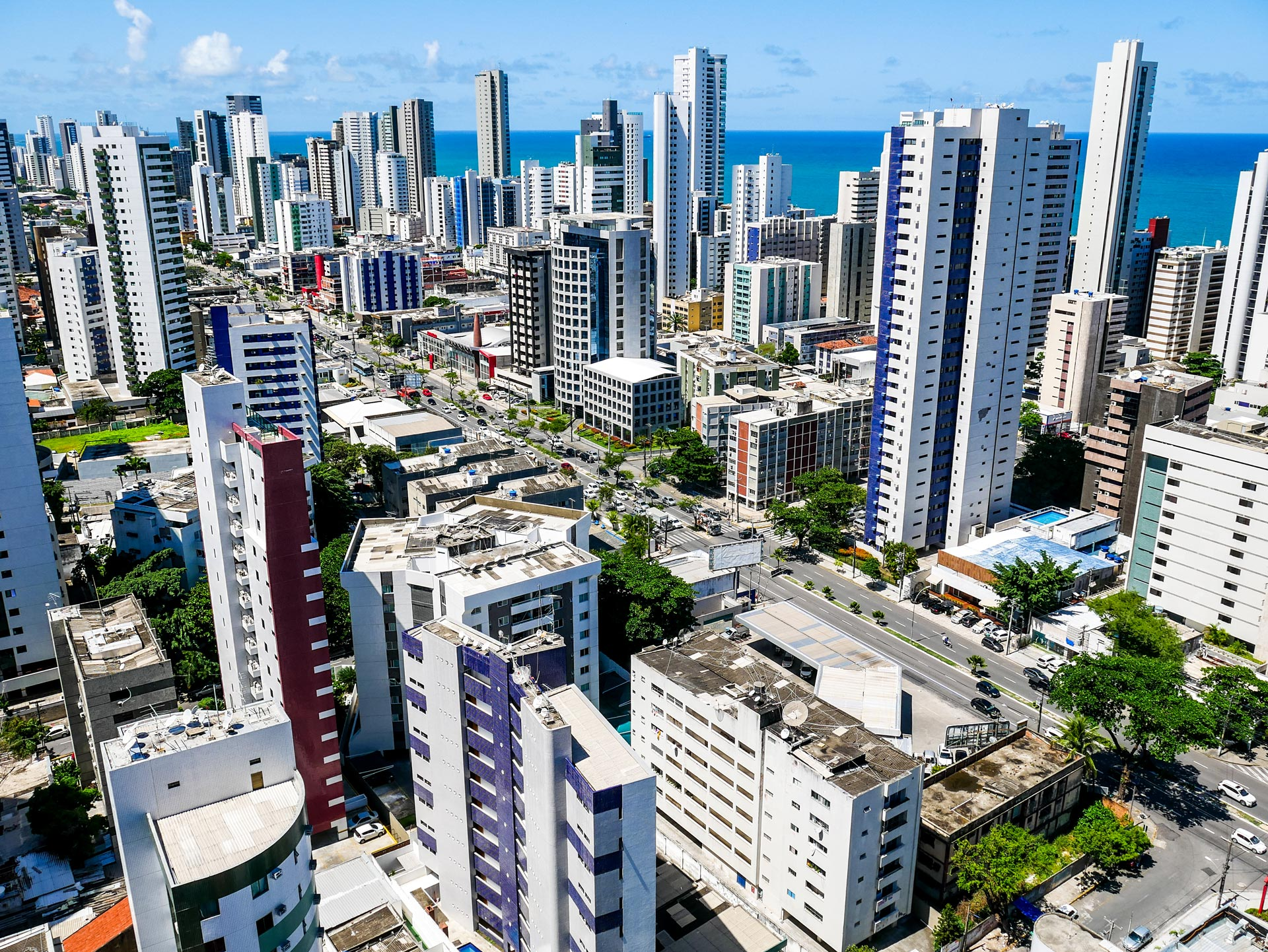 View from rooftop overlooking Boa Viagem and ocean in Recife, Brazil