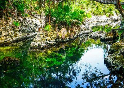 Green and blue water of lake Cueva de los Peces at Bay of Pigs, Cuba