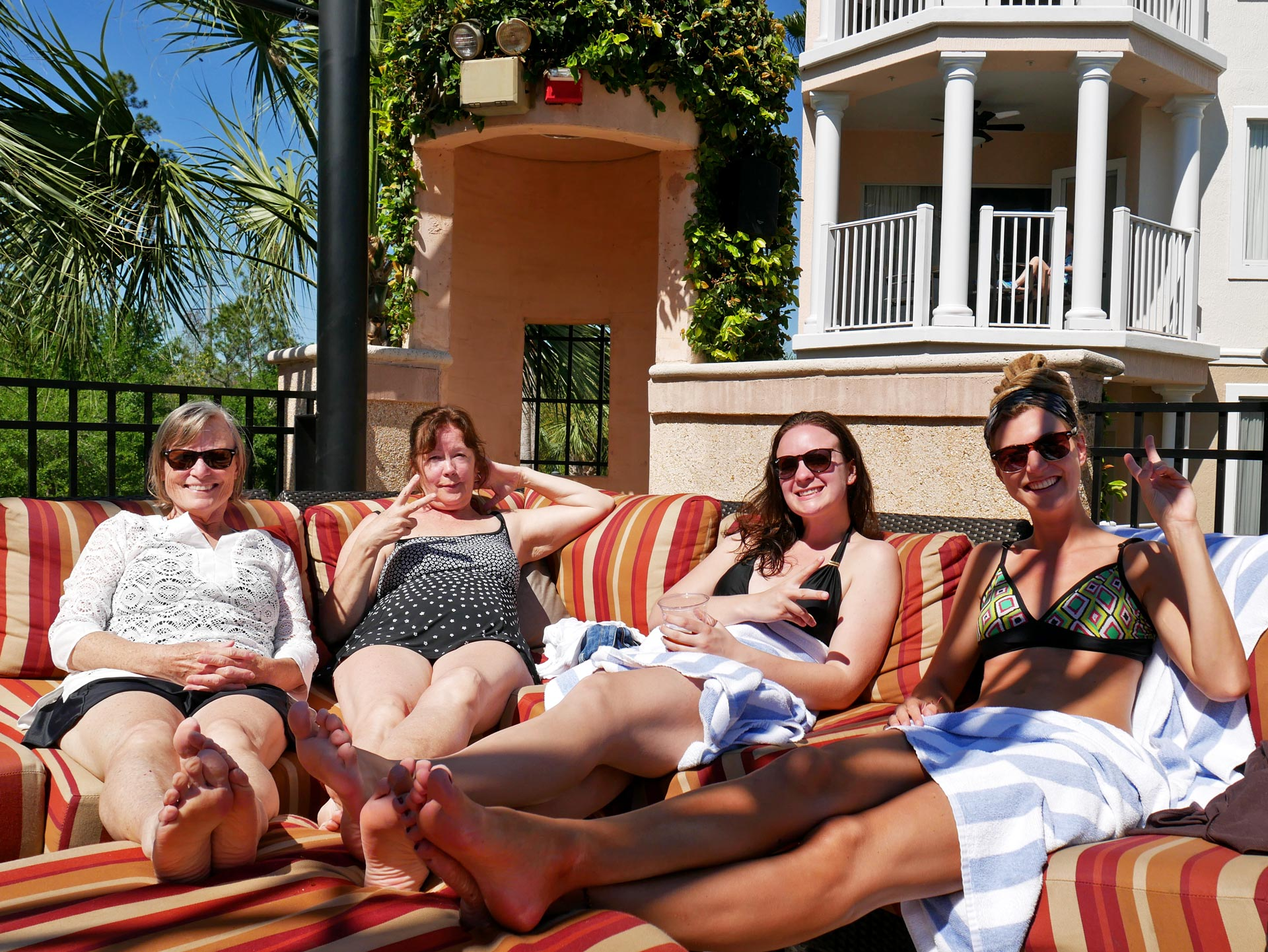 Rasta girl and family lounging at hotel in Orlando, Florida