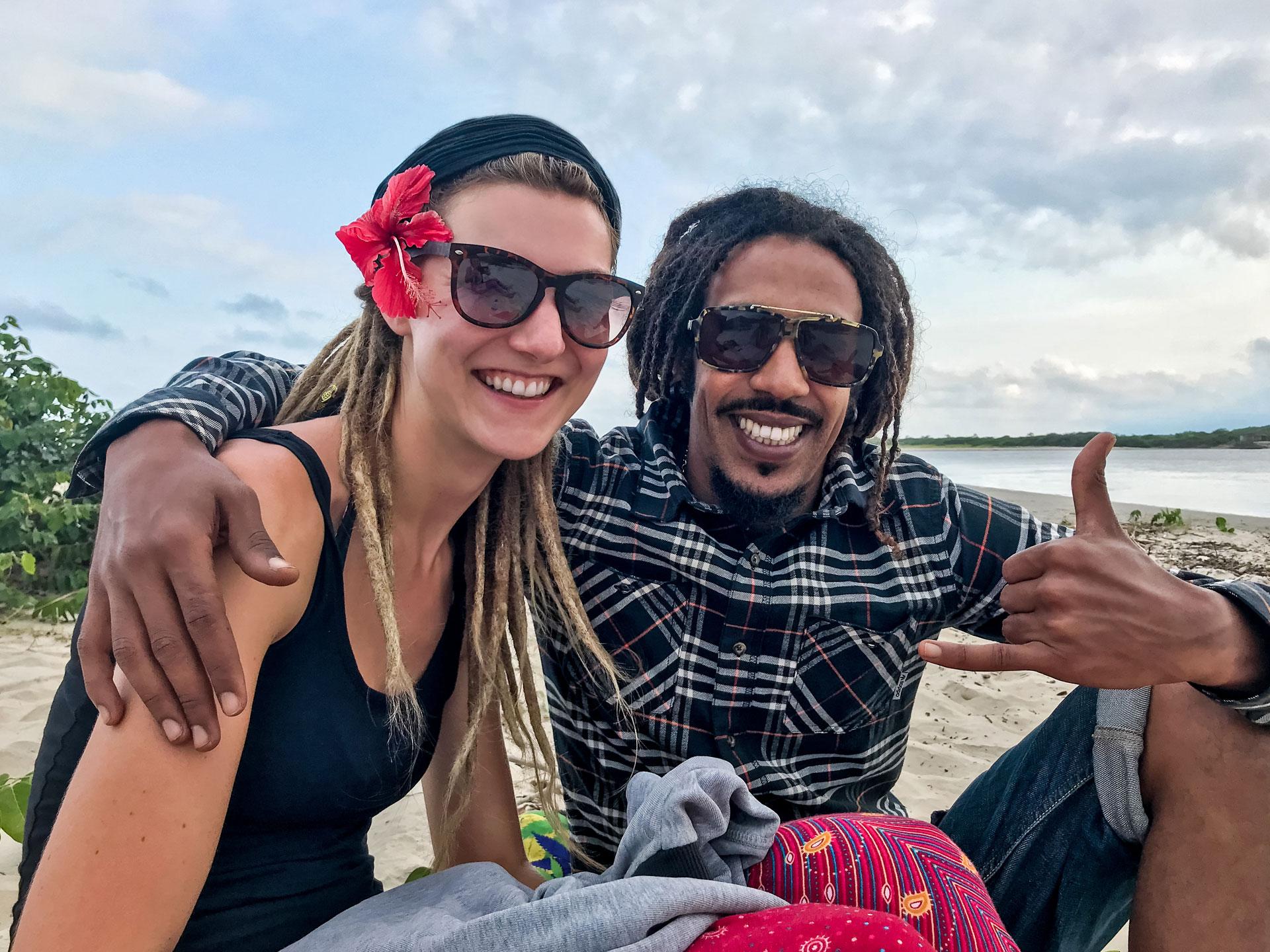 Dreadlock couple at beach in Barra do Una, Brazil
