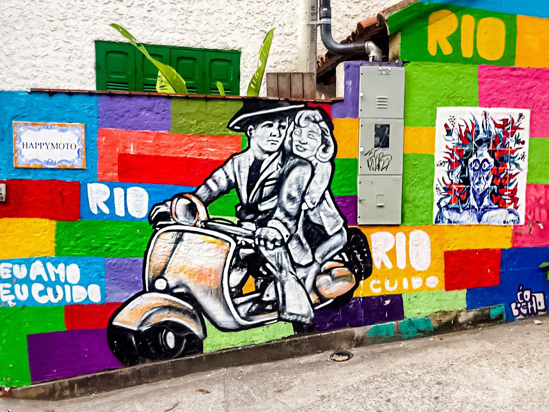 Colorful graffiti in favela in Rio de Janeiro, Brazil