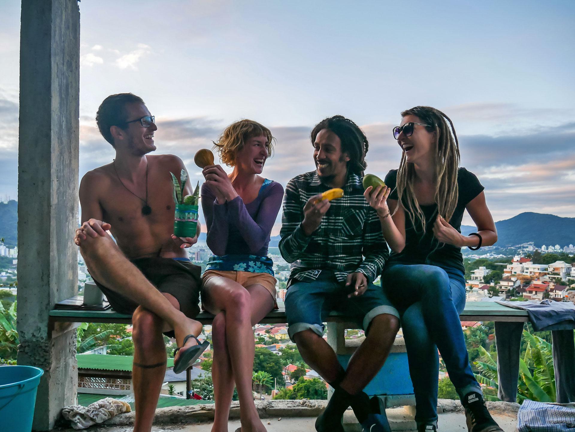 Rasta couple with friends in Florianópolis, Brazil