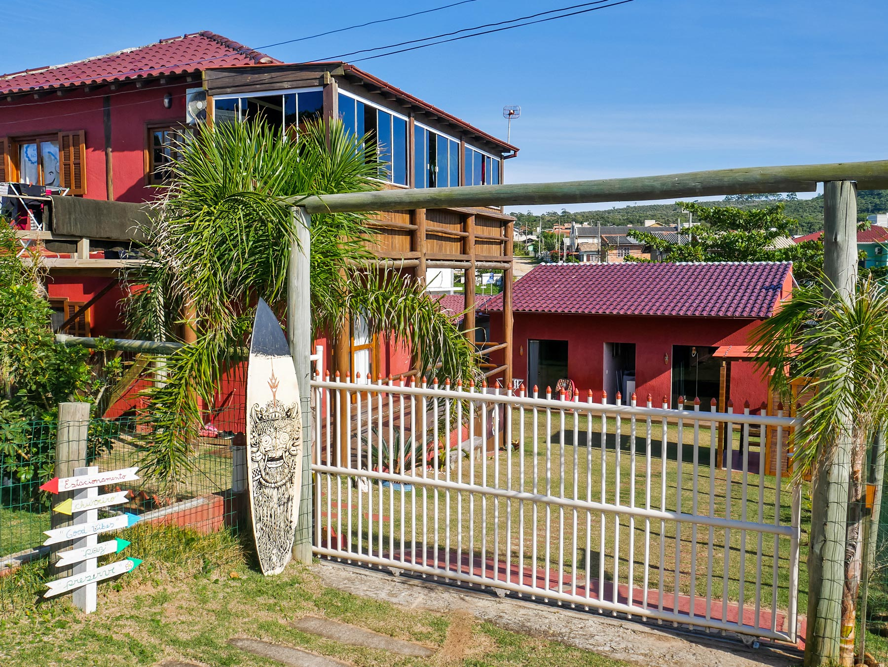 Red houses with green space in Imbituba, Brazil