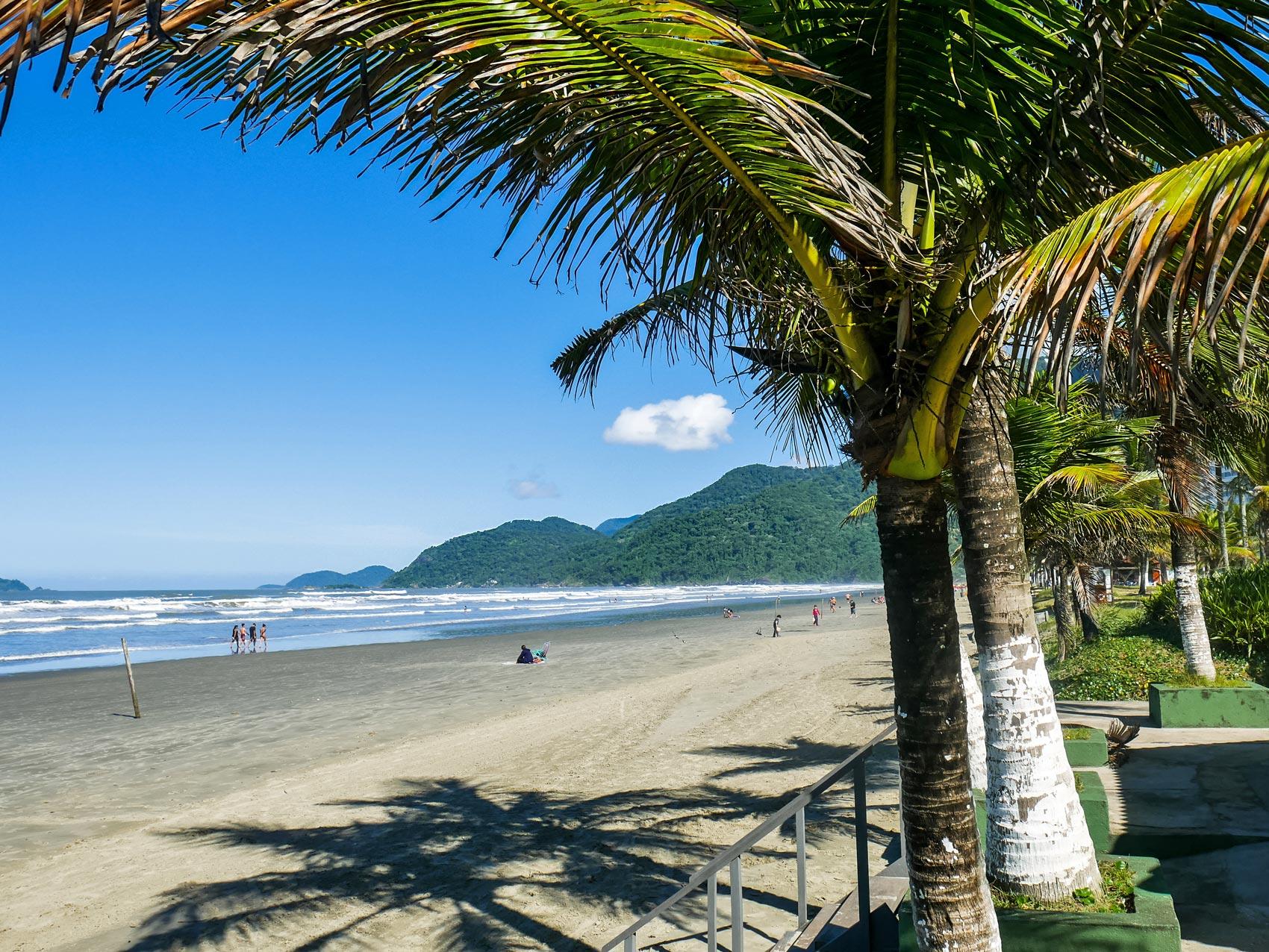 Beautiful nature of beach in Peruíbe, Brazil